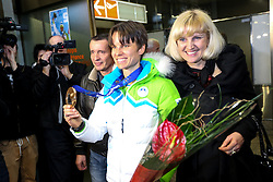 Teja Gregorin with family at reception of Slovenia team arrived from Winter Olympic Games Sochi 2014 on February 19, 2014 at Airport Joze Pucnik, Brnik, Slovenia. Photo by Vid Ponikvar / Sportida