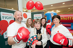 "Dr Rod Lawson Consultant in Respiratory Medicine at Sheffield Teaching Hospitals, Ellenor Craven, The Lord Mayor of Sheffield Councillor Dr Sylvia Dunkley, Stephanie Dean  & British Lung Foundation Support & Development Manager help to launch of the ""Winning The Fight For Breath  with COPD Campaign"" in Meadowhall Shopping Centre Sheffield on Saturday 18th February 2012..www.pauldaviddrabble.co.uk..18th February 2012 -  Image © Paul David Drabble"