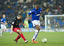 CARDIFF, WALES - Tuesday, February 1, 2011: Cardiff City's Jay Emmanuel-Thomas and Reading's Andy Griffin in action during the Football League Championship match at the Cardiff City Stadium. (Photo by Gareth Davies/Propaganda)