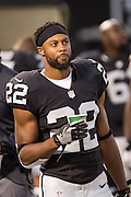 Oakland Raiders running back Taiwan Jones (22) during a preseason NFL game against the Tennessee Titans at Oakland Coliseum in Oakland, Calif., on August 26, 2016. (Stan Olszewski/Special to S.F. Examiner)