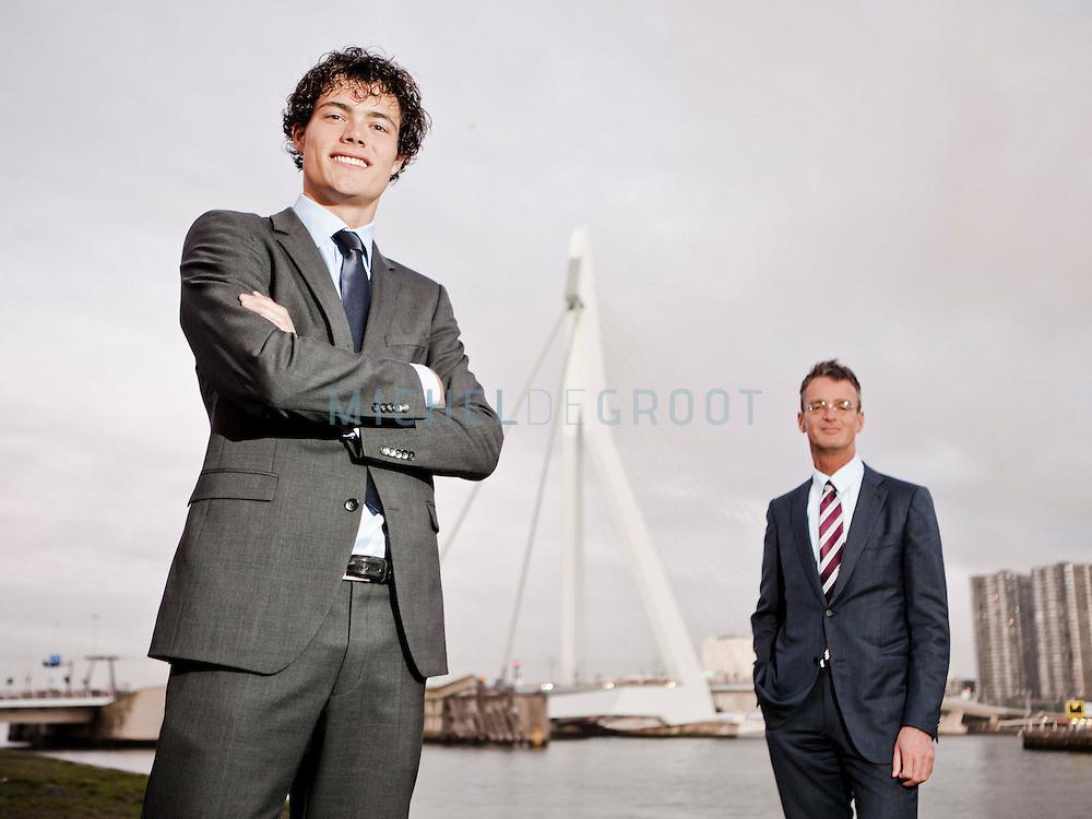 Eneco CEO Jeroen de Haas en zijn student CEO Sven Jaspers tijdensTEDx in Rotterdam