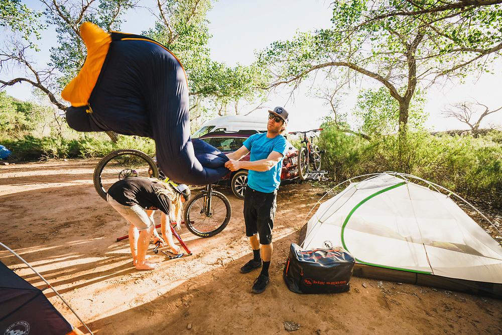 Dane  Cronin shakes off the desert dust, Virgin, Utah.
