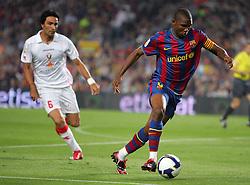 Samuel Eto'o attacks for Barca. Barcelona v Osasuna (0-1), La Liga, Nou Camp, Barcelona, 23rd May 2009.