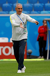 June 21, 2018 - Saint Petersburg, Russia - Brazil national team head coach Tite gestures during a Brazil national team training session during the FIFA World Cup 2018 on June 21, 2018 at Saint Petersburg Stadium in Saint Petersburg, Russia. (Credit Image: © Mike Kireev/NurPhoto via ZUMA Press)