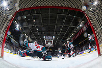 KELOWNA, CANADA - FEBRUARY 8:  Roman Basran #30 of the Kelowna Rockets makes a save against the Prince George Cougars on February 8, 2019 at Prospera Place in Kelowna, British Columbia, Canada.  (Photo by Marissa Baecker/Shoot the Breeze)