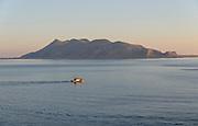 Favignana vista dal lungomare di Levanzo nelle Egadi.<br /> Favignana seen from Levanzo seafront, Egadi islands
