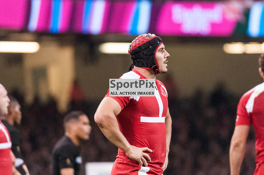 Georgian try scorer Beka Tsuklauri. Action from the New Zealand v Georgia game in Pool C of the 2015 Rugby World Cup at Milennium Stadium in Cardiff, 2 October 2015. (c) Paul J Roberts / Sportpix.org.uk