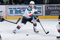 KELOWNA, CANADA - JANUARY 24: Cody Fowlie #18 of the Kelowna Rockets makes a backhanded pass against the  Seattle Thunderbirds at the Kelowna Rockets on January 24, 2013 at Prospera Place in Kelowna, British Columbia, Canada (Photo by Marissa Baecker/Shoot the Breeze) *** Local Caption ***