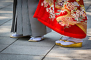 The use or rental of traditional clothes for weddings in Japan, albeit expensive, is still very much in use. This is a detail from the bride and groom's clothes.