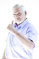 caucasian senior man portrait thumb up approval isolated studio on white background