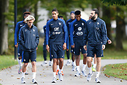 Antoine Griezmann, Raphael Varane and Adil Rami during the training of the team of France before the FIFA World Cup qualifying football match between Bulgaria and France, on October 2, 2017 in Clairfontaine, France - Photo Benjamin Cremel / ProSportsImages / DPPI