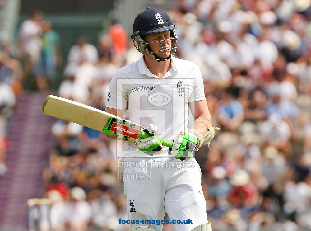 Sam Robson of England walks off after getting out during the Investec Test Match match at the Ageas Bowl, West End<br /> Picture by Tom Smith/Focus Images Ltd 07545141164<br /> 27/07/2014