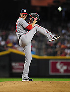 Aug. 12, 2012; Phoenix, AZ, USA; Washington Nationals pitcher Ross Detwiler (48) pitches during the game against the Arizona Diamondbacks in the first inning at Chase Field.  Mandatory Credit: Jennifer Stewart-US PRESSWIRE