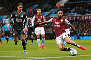 Douglas Costa clears the ball during the EFL Cup Semi-Final match between Aston Villa and Leicester City at Villa Park, Birmingham, England on 28 January 2020.