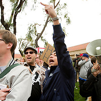 Members of the National Socialist Movement, a Neo Nazi group, rallies in Claremont, California against illegal immigration and is met by a large group of counter protesters. Please contact Todd Bigelow directly with your licensing requests.