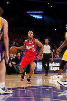 15 January 2010: Guard Sebastian Telfair of the Los Angeles Clippers drives to the basket against the Los Angeles Lakers during the first half of the Lakers 126-86 victory over the Clippers at the STAPLES Center in Los Angeles, CA.