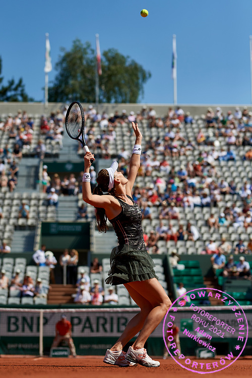 Paris, France - 2017 June 01: Agnieszka Radwanska from Poland serves during her women's single match second round during tennis Grand Slam tournament The French Open 2017 (also called Roland Garros) at Stade Roland Garros on June 01, 2017 in Paris, France.<br /> <br /> Mandatory credit:<br /> Photo by &copy; Adam Nurkiewicz<br /> <br /> Adam Nurkiewicz declares that he has no rights to the image of people at the photographs of his authorship.<br /> <br /> Picture also available in RAW (NEF) or TIFF format on special request.<br /> <br /> Any editorial, commercial or promotional use requires written permission from the author of image.