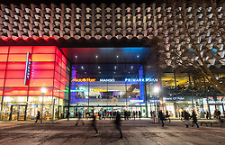 Night view of Centrum Shopping Centre in Dresden Germany