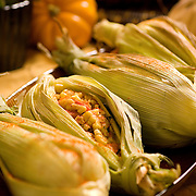 Corn wrapped in husks for Thanksgiving feast