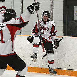STOUFFVILLE, ON - Jan 16 : Ontario Junior Hockey League Game Action between the Stouffville Spirit Hockey Club and the Whitby Fury Hockey Club.  Michael Carcone #8 of the Stouffville Spirit Hockey Club celebrates the goal with teammate Graham Pickard #21 of the Stouffville Spirit Hockey Club during second period game action.<br /> (Photo by Michael DiCarlo / OJHL Images)