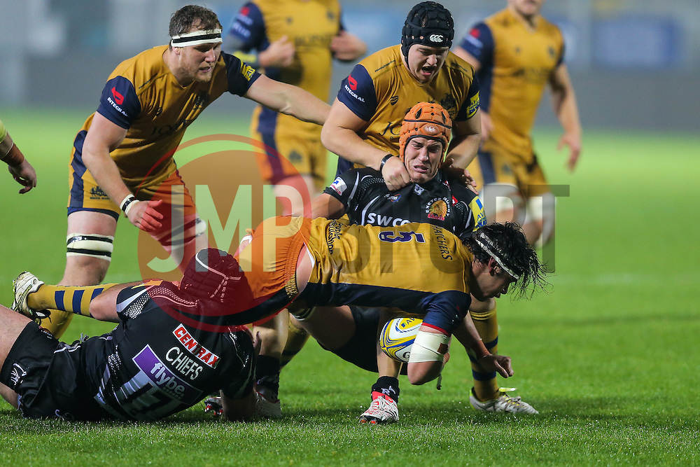 BJ Edwards of Bristol United is tackled by Ollie Atkins of Exeter Braves - Rogan Thomson/JMP - 24/10/2016 - RUGBY UNION - Sandy Park - Exeter, England - Exeter Braves v Bristol United - Reserve Team Friendly.
