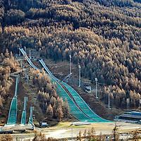 PRAGELATO, ITALY - November 16,  2015 : The Ski Jumping Stadium at Pragelato <br /> Costruito nel 2004 in previsione dei XX Giochi olimpici invernali, l'impianto ha ospitato le gare di salto con gli sci delle olimpiadi di Torino 2006.