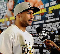 Dec 12,2012. Los Angeles CA. USA.. Amir Khan talks to the press at Los Angeles press conference on his upcoming fight this Saturday with Carlos Molina. The fight will be scene on ShowTime live from the Los Angeles Sports Arena. Photo by Gene Blevins/LA Daily News