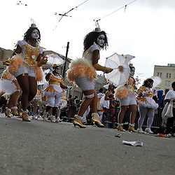 February 21, 2012; New Orleans, LA, USA; Dancers from the Krewe of Zulu parade perform as it rolled along the uptown New Orleans St. Charles Avenue parade route throwing beads, painted coconuts and various trinkets on Mardi Gras day. Mardi Gras is an annual celebration that ends at midnight with the start of the Catholic Lenten season which begins with Ash Wednesday and ends with Easter. Photo by: Derick E. Hingle