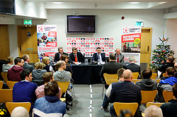 A view of the room as Fans put questions to Bristol City club representatives (L-R Director Doug Harman, Football Managing Director Jon Lansdown, Manager Derek McInnes (SCO) and Chairman Keith Dawe) at the clubs Annual Supporters Meeting held in the AMC Communications Lounge - Photo mandatory by-line: Rogan Thomson/JMP - Tel: Mobile: 07966 386802 06/12/2012 - SPORT - FOOTBALL - Ashton Gate - Bristol - Club AGM.