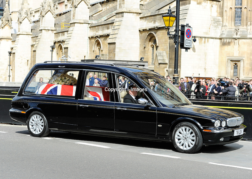 Baroness Thatcher's Coffin arrives at Chapel of St Mary Undercroft in the Palace of Westminster, London, UK, Tuesday 16 April, 2013, Photo by: i-Images