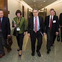 Senator Al Franken, Democrat from Minnesota, walks through the hallways of his Washington, DC office building with members of the Minnesota Bar Association on April 16, 2015.