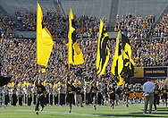 September 29 2012: The Iowa Hawkeyes take the field before the start of the NCAA football game between the Minnesota Golden Gophers and the Iowa Hawkeyes at Kinnick Stadium in Iowa City, Iowa on Saturday September 29, 2012. Iowa defeated Minnesota 31-13 to claim the Floyd of Rosedale Trophy.
