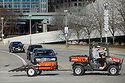 CINCINNATI, OH - DECEMBER 17: Cincinnati Bengals equipment personnel take gear back to Paul Brown Stadium following a workout on the practice fields on December 17, 2015 in Cincinnati, Ohio. (Photo by Joe Robbins)