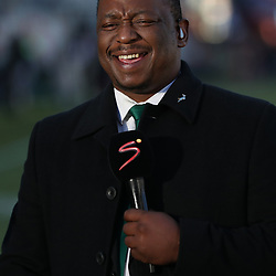 Xola Ntshinga Supersport rugby commentator during the 2018 Castle Lager Incoming Series 2nd Test match between South Africa and England at the Toyota Stadium.Bloemfontein,South Africa. 16,06,2018 Photo by (Steve Haag JMP)