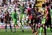 Forest Green Rovers Matt Mills(5) heads the ball clear during the EFL Sky Bet League 2 match between Bradford City and Forest Green Rovers at the Utilita Energy Stadium, Bradford, England on 24 August 2019.