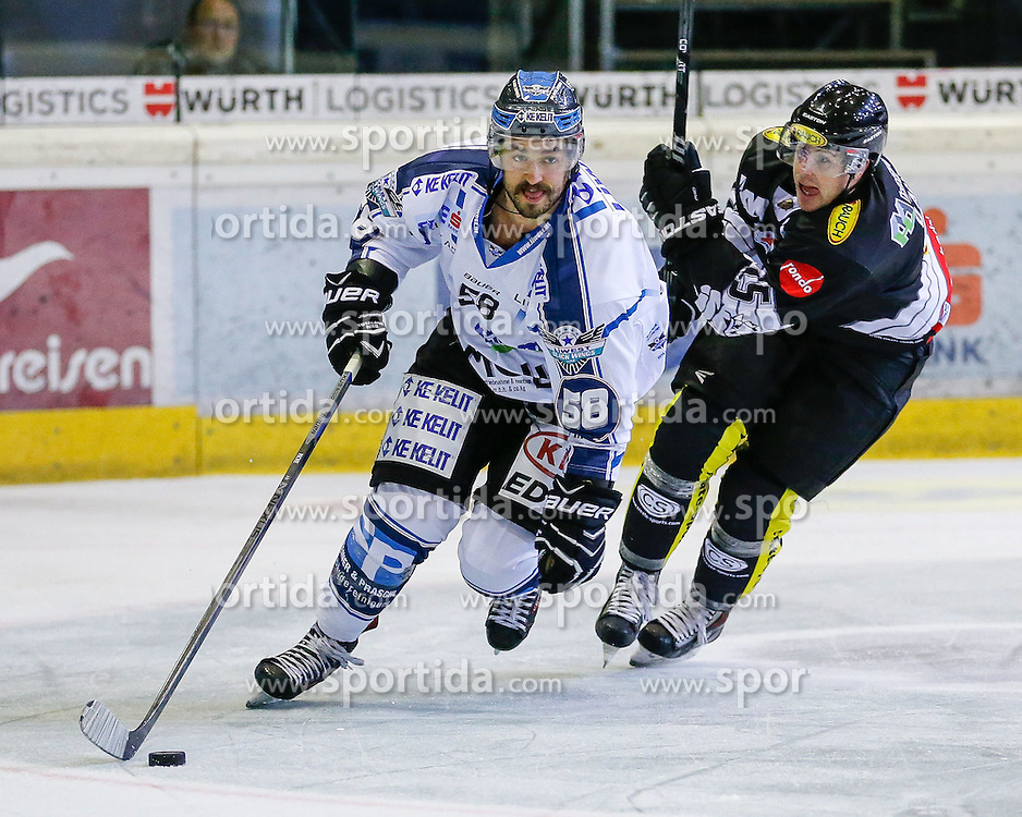 28.09.2014, Messestadion, Dornbirn, AUT, EBEL, Dornbirner EC vs EHC Liwest Black Wings Linz, 6.Runde, im Bild Sebastian Piche, (EHC Liwest Black Wings Linz #58) und dec55 // during the Erste Bank Icehockey League 6th round match between Dornbirner EC and EHC Liwest Black Wings Linz at the Messestadion in Dornbirn, Austria on 2014/09/28, EXPA Pictures © 2014, PhotoCredit: EXPA/ Peter Rinderer