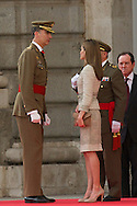 King Felipe VI of Spain and Queen Letizia of Spain Receive Armed Forces and Guardia Civil Members at The Royal Palace on June 25, 2014 in Madrid, Spain