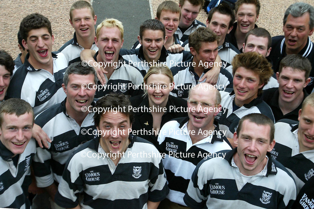 Promotion winning Perthshire Rugby team who are sponsored by The Fampus Grouse pictured at the Famous Grouse Experience where they celebrated their season's success.<br />
