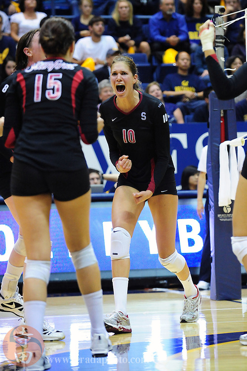 September 25, 2009; Berkeley, CA, USA; Stanford Cardinal outside hitter Alix Klineman (10) celebrates a point during the match against the California Golden Bears at Haas Pavilion. The Golden Bears defeated the Cardinal 19-25, 25-20, 20-25, 25-19, 15-12. Mandatory Credit: Kyle Terada-Terada Photo