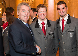 29.01.2014, Hofburg, Wien, AUT, Sochi 2014, Vereidigung OeOC, im Bild Bundespräsident Heinz Fischer, Wolfgang und Andreas Linger // Austrians President Heinz Fischer, Wolfgang and Andreas Linger during the swearing-in of the Austrian National Olympic Committee for Sochi 2014 at the  Hofburg in Vienna, Austria on 2014/01/29. EXPA Pictures © 2014, PhotoCredit: EXPA/ JFK