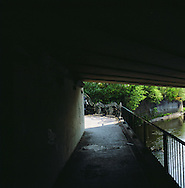 The source of the river Mersey seen from under the M60 motorway in Stockport. The Mersey is a river in north west England which stretches for 70 miles (112 km) from Stockport, Greater Manchester, ending at Liverpool Bay, Merseyside. For centuries, it formed part of the ancient county divide between Lancashire and Cheshire.