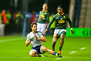 Sean Maitland (#11) (Saracens) of Scotland gather the ball as Sbu Nkosi (#14) (Cell C Sharks) of South Africa closes him down during the Autumn Test match between Scotland and South Africa at the BT Murrayfield Stadium, Edinburgh, Scotland on 17 November 2018.