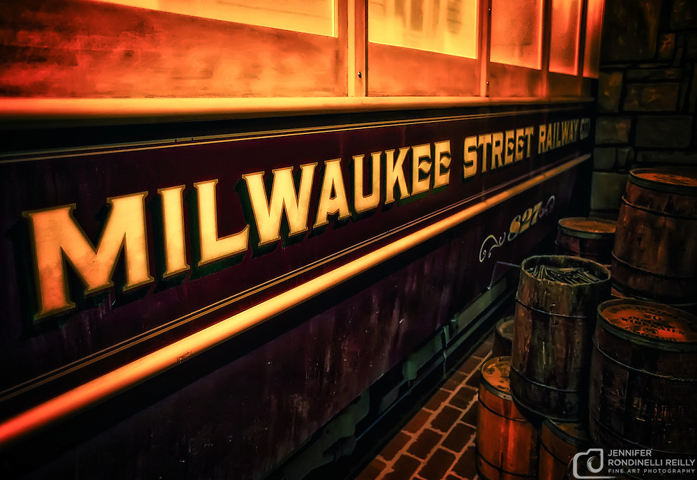 Photo of the Milwaukee Street Railway trolley car in the Streets of Old Milwaukee at the Milwaukee County Museum.