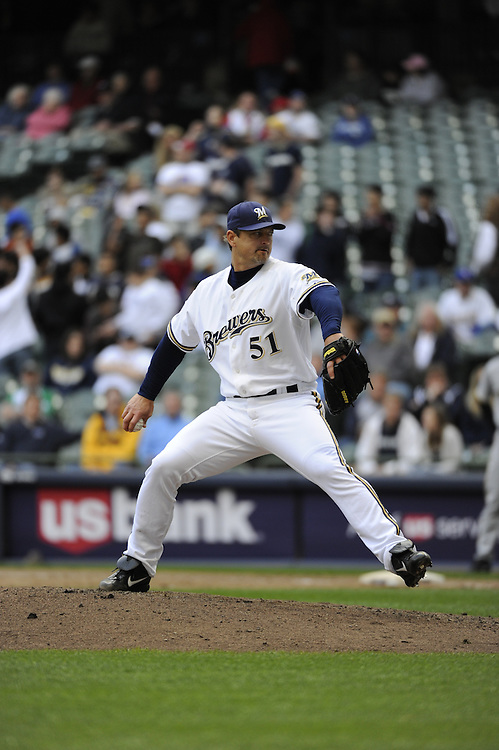 MILWAUKEE - APRIL 28:  Trevor Hoffman #51of the Milwaukee Brewers pitches against the Pittsburgh Pirates on April 28, 2010 at Miller Park in Milwaukee, Wisconsin.  The Pirates defeated the Brewers 6-5 in 14 innings.  (Photo by Ron Vesely)