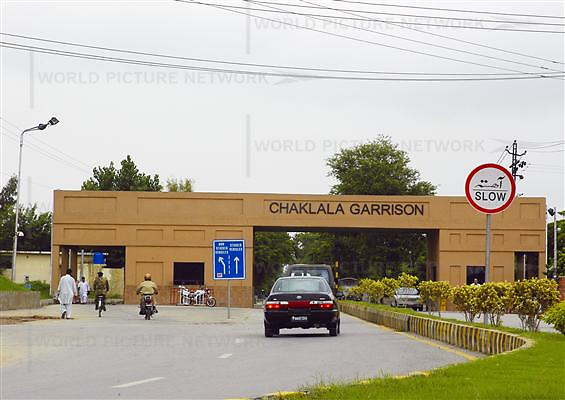 A car approaches the Chaklala Garrison, a military area, in Islamabad, Pakistan on Wednesday Aug. 9, 2006.