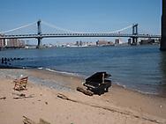 Piano under the Brooklyn Bridge