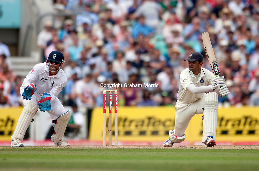Rahul Dravid bats during the fourth and final npower Test Match between England and India at the Oval, London.  Photo: Graham Morris (Tel: +44(0)20 8969 4192 Email: sales@cricketpix.com) 21/08/11