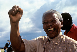 President of the African National Congress (ANC) Nelson Mandela during an election rally in the Eastern Transvaal town of Ermelo.