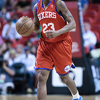 14 March 2010: Philadelphia 76ers guard Lou Williams brings the ball upcourt during the Miami Heat 100-89 victory over the Philadelphia 76ers at the AmericanAirlines  Arena, in Miami, Florida, USA.