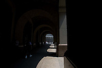 A walkway adjacent to the World Trade Center site in Manhattan, New York City, New York on Wednesday, July 26, 2006.<br />